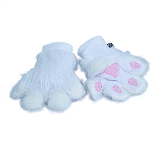 Pawstar Paw Mitts Furry Animal Hand Paws Costume Gloves Adults - White