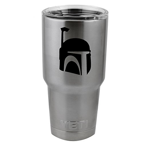 Boba Fett Helmet Silhouette Star Wars Inspired Vinyl Sticker Decal for Yeti Mug Cup Thermos Pint Glass (4' Wide - Decal ONLY, NO Cup)