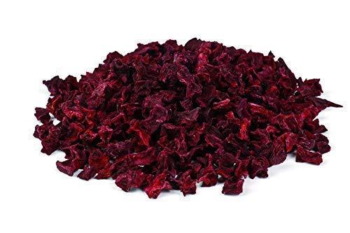 Bio Rote Beete Stückchen getrocknet 1kg Fairtrade rote Rüben Bete Gemüse, Rohkost, für Smoothies, Suppe, Salat und als Snack, aromatisch süßlich, violett/rötlich/bräunlich 1000g