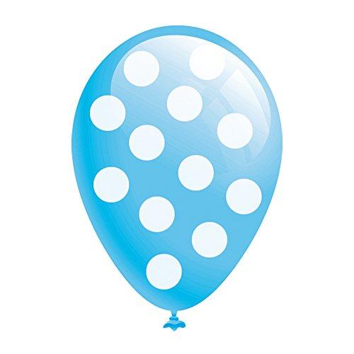 """BWS Paquete de 100 Globos en Azul Claro con Lunares Blancos de 5 """"/ 13 cm para Fiestas y cumpleaños"""