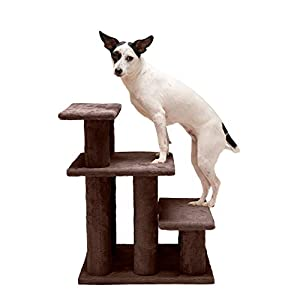 Furhaven Pet Stairs – Steady Paws Easy Multi-Step Pet Stairs Assist Ramp for Dogs and Cats, Brown, 3-Step