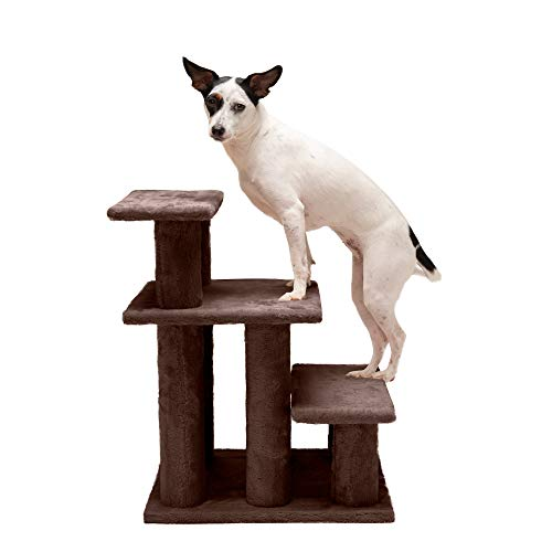 Furhaven Pet Stairs - Steady Paws Easy Multi-Step Pet Stairs Assist Ramp for Dogs and Cats, Brown, 3-Step