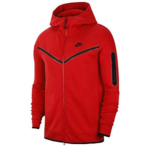 Nike Felpa da Uomo con Cappuccio e Full Zip Tech Fleece Rossa Taglia L cod CU4489-657 -9M