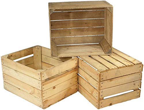 Kistenbaron 3er Set alte Holzkisten - gebrauchte Obstkisten, Weinkisten - Used Look - Für Dekoration, Aufbewahrung oder Möbelbau