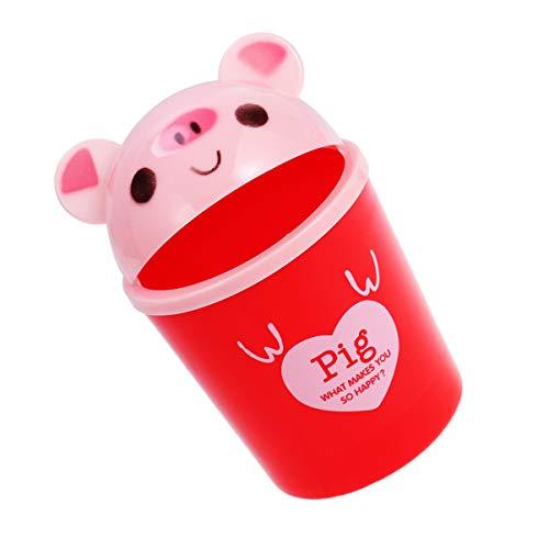 Toddmomy 1 Cubo de Basura de Escritorio de Animales de Dibujos Animados Papelera de Almacenamiento de Basura Mini Organizador de Basura (Rojo Rosa C065D)