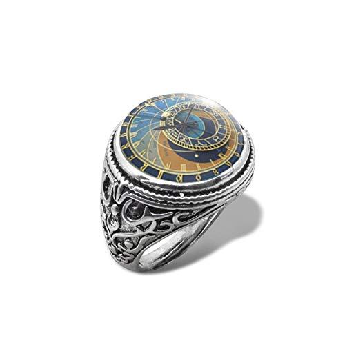 LMKAZQ New Astro Steampunk Ring Uhr Ring Glaskuppel Cabochon Handgemachten Schmuck Inlay Ring, Größe veränderbar, 4, versilbert