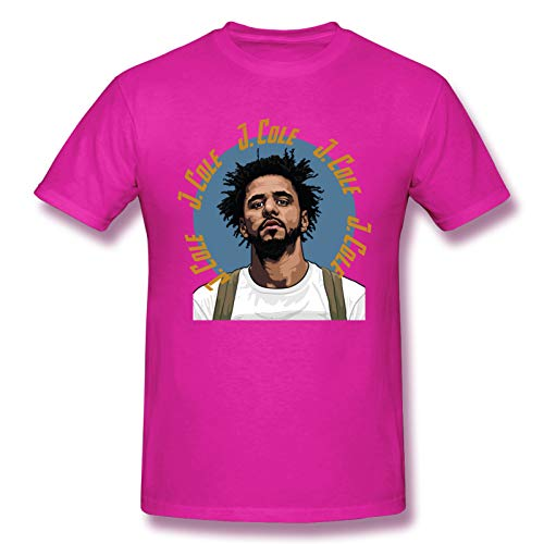 AJY J.Cole-1 Men's Basic Short Sleeve T-Shirt Fuchusia XX-Large
