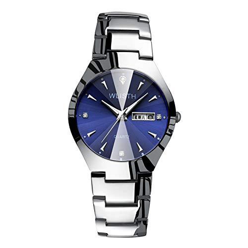 ZWH Reloj de Mujer Luz de Noche a Prueba de Agua Strip de Acero Reloj de Mano Pareja Reloj de Estudiante Reloj de Hombre Reloj de Cuarzo Reloj Femenino al por Mayor (Color : Silver Blue Men)