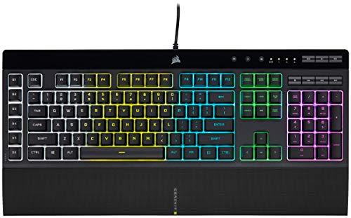 CORSAIR K55 RGB PRO ゲーミングキーボード、ブラック- IP42 防塵・防滴 - 取り外し可能なパームレスト - 専用メディアキーと音量キー (CH-9226765-JP)