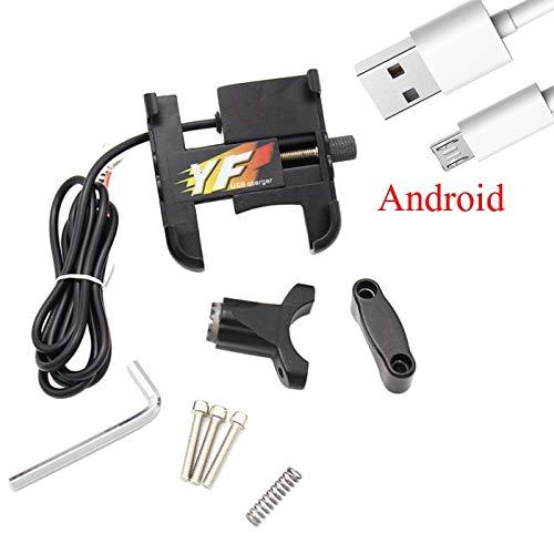 JIEWEI Soporte de la bicicleta de la motocicleta con el soporte del manillar del cargador USB para el automóvil Motorbike G.P.S stand para teléfono móvil de 4-7 pulgadas Para estrenar