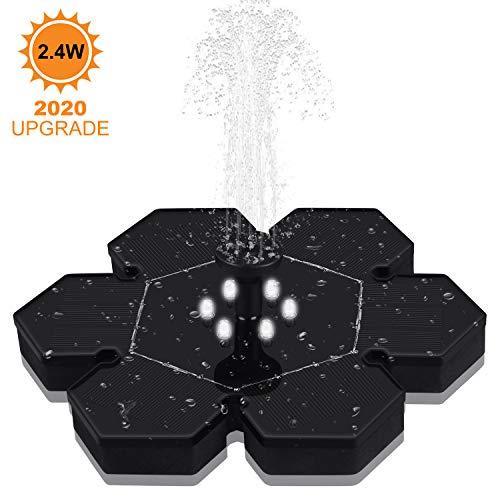 GOOJODOQ Bomba de Fuente Solar (Mejorada), 2.4W Polygon Garden Bomba de Agua Solar Flotante Batería Incorporada, con 4 Boquillas para Estanques, Piscinas, Jardines, Tanques de Peces, etc.