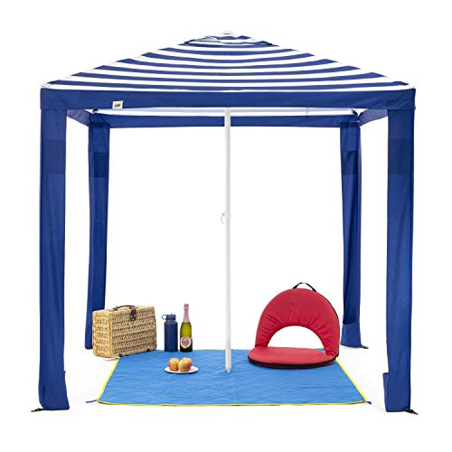 SlumberTrek 3049363VMI Maui 2-In-1 Outdoor Beach Cabana Gazebo Umbrella Shelter with Carrying Case, Blue