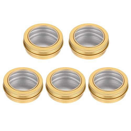 HEMOTON 5 latas de vela con tapa transparente de aluminio para hacer velas, tarros de crema vacíos para almacenamiento de viaje, suministros de manualidades de 68 x 25 mm