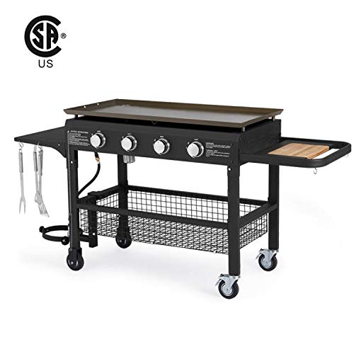 U-MAX 4-Burner Portable Propane Gas Grill 2 in 1 with steel gas griddle flat top & 741sq. Inch BBQ Grill Plate Pan, Outdoor Folding Barbecue Cooking Station CSA Approved for Home, Camping, Party Grills Propane