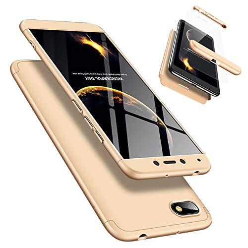 Funda Xiaomi Redmi 6A 360 Grados Caja Caso + Vidrio Templado Laixin 3 in 1 Carcasa Todo Incluido Anti-Scratch Protectora de teléfono Case Cover para Xiaomi Redmi 6A (Oro)