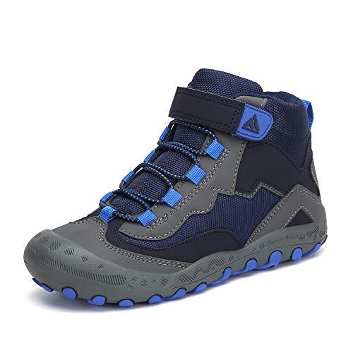Mishansha Trekkingschuhe für Kinder Wanderschuhe Leicht Sommer Jungs Sneaker Klettverschluss Wander Schuhe Sportiva Unisex Blau B 36 EU