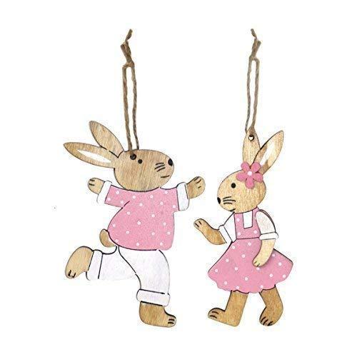 pacco da 2 legno rosa bambina Coniglietto pasquale coniglio DECORAZIONI DA APPENDERE
