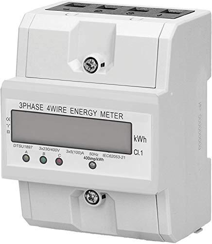 Conpush 3 Phasen Stromzähler 4 Draht Messgerät LCD digitaler Drehstromzähler Energiemessgerät 3x230/400V 5(100) A für DIN Hutschiene