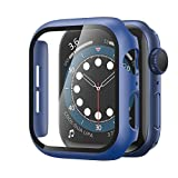 YMHML Case compatible with Apple Watch Series 6 / SE 40mm Built-in Tempered Glass Screen Protector, Hard PC Protector Cover Thin Guard Full Coverage for iWatch 40mm (Blue)