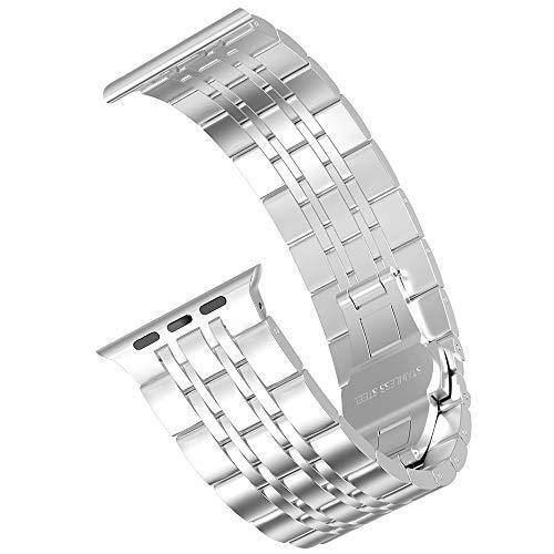 Supore iWatch Metal Correa Compatible Apple Watch 44mm 42mm 40mm 38mm, Pulsera de Repuesto de Acero Inoxidable Correa para iWatch Series SE 6 5 4 3 2 1, Hombres y Mujer (38mm/40mm - Plata)