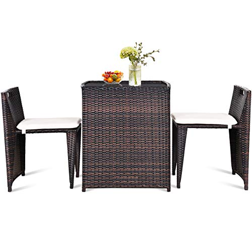 Giantex 3 PCS Cushioned Outdoor Wicker Patio Set Convention Bistro Set...