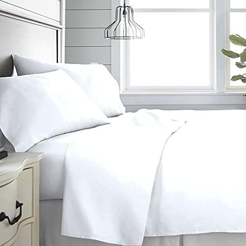 Monkey House | Set completo letto tinta unita, Made in Italy, 100% cotone – singolo, matrimoniale, una piazza e mezza (bianco, Singolo)
