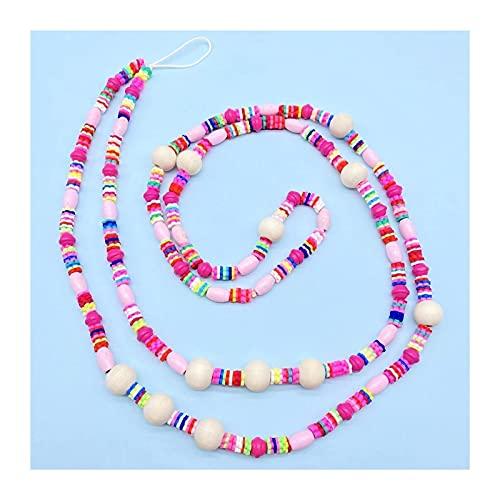 mimiliy Phone Lanyard Hecho a Mano Colorido Cadena Larga Cadena Móvil Joyería Collar de Encanto para teléfono (Color: D) (Color : B)