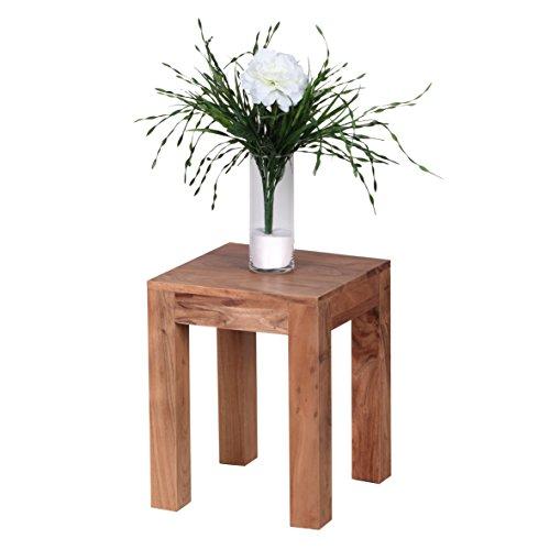 WOHNLING Beistelltisch Massiv-Holz Akazie 35 x 35 cm Wohnzimmer-Tisch Design dunkel-braun Landhaus-Stil Couchtisch Natur-Produkt Wohnzimmermöbel Unikat modern Massivholzmöbel Echtholz Anstelltisch