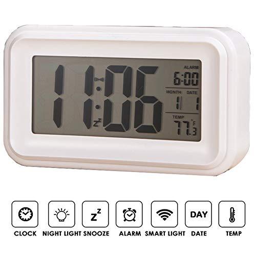 Mengen88 Touch-wekker, verwarmde nachtlichttemperatuur stille wekker, wordt geleverd met achtergrondverlichting, snooze-functie, weektemperatuurweergave, wit