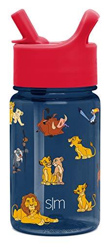 Simple Modern Disney Summit Kids Tritan Botella de agua con tapa de pajita para niños pequeños de 355 ml - Vaso de viaje apto para...