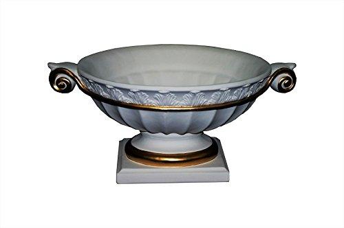 Antikes Wohndesign Obstschale Dekoschale Schale Medusa Maänder Römisch Griechisch Weiß Gold