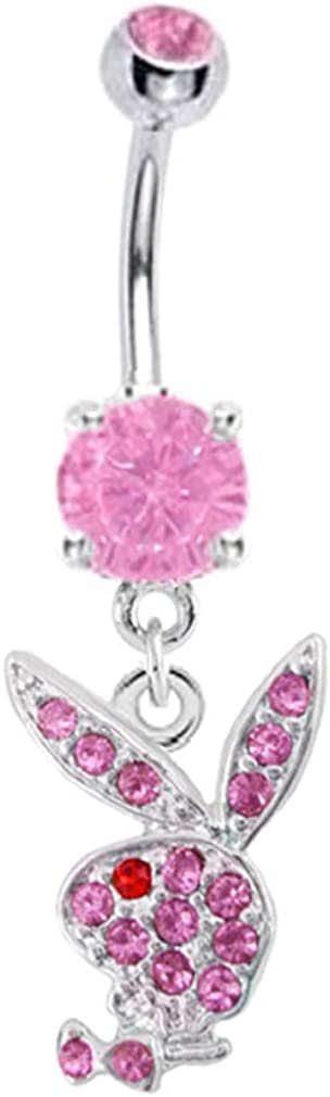 Officially Licensed Pink Playboy Bunny Rabbit Dangle Belly Navel Ring Piercing bar Body Jewelry 14g