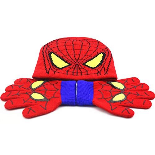 YEMAO Guanti per Cappelli Lavorati a Maglia per Bambini Spiderman Set Cappuccio di Lana per Bambini Cartoon Autunno Caldo Inverno,Spiderman