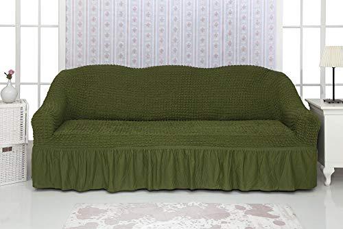 Mixibaby Sofabezug Sofahusse Sesselbezug Sitzbezug Sesselüberwurf Stretchhusse Sofahusse, Farbe:tannengrün