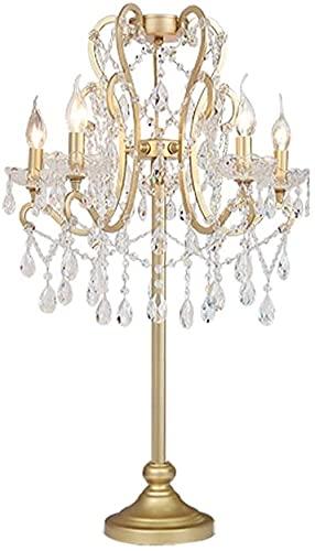 GDICONIC Lámpara LED Lámpara de Mesa de Cristal, Estilo Europeo, Sala de Estar de Lujo, Moda Dorada Creativa, Sala de Bodas romántica, Dormitorio de Princesa, lámpara de Noche 44 * 65 cm