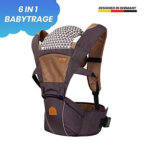 TRI Ergonomische 6 in 1 Premium Babytrage aus 100{54a0040b378eb0f1e2594c2b5702e59f808944ccaa6e51d85efeee953f529618} Baumwolle für Babys ab 4 Monate von 4-20kg, die perfekte Babytragetasche, Tragegurt Baby, Kindertrage für Eltern (braun)