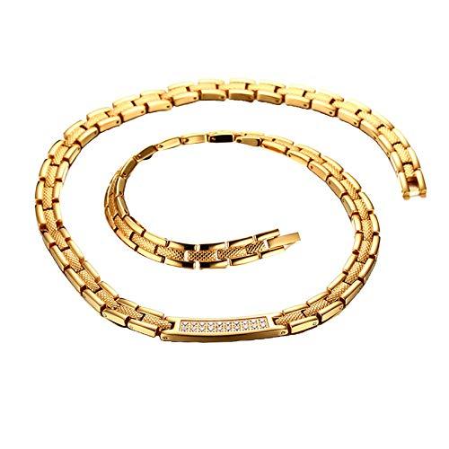 Harilla Elegante Collar Magnético de Acero Inoxidable Joyas Moda 48cm Longitud Dorado
