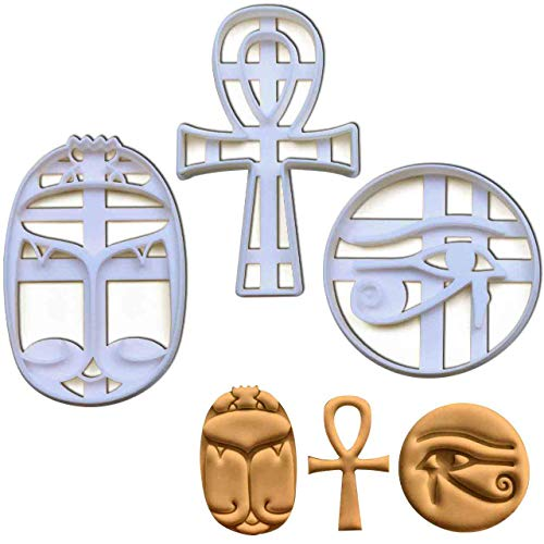 Set of 3 Ancient Egypt themed cookie cutters (Designs: Ankh, Eye of Horus, and Scarab), 3 pieces - Bakerlogy