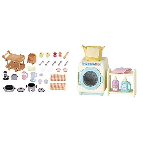 SYLVANIAN FAMILIES Animales Set Utensilios para Cocina (Epoch para Imaginar 5090) + Washing Machine Set Mini muñecas y Accesorios, (Epoch para Imaginar 3565)