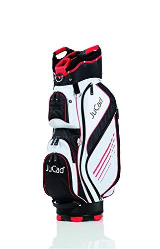 JuCad Bag Sportlight I Golfbag I Golftasche I für 14 Schläger I Schirmhalter I Farbe Schwarz-weiß-Rot