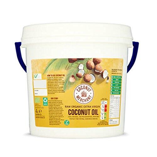 Coconut Merchant Huile de Coco Bio 4L | Extra Vierge, Crue, Pressée à Froid, Non Raffinée | Du Commerce Équitable, Végétalienne, Cétogène et 100% Naturelle | pour Cheveux, Peau & Cuisine, 4L