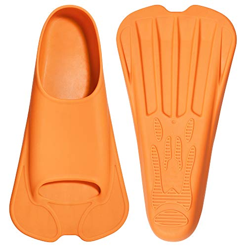 CAPAS Swim Training Fins Comfortable Silicone Swimming Flippers Short Blade Build Leg Strength (Orange, XS (US Male 3.5-5 US Female 4.5-6))