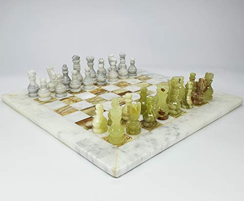 Handmade Unique Marble Onyx Chess Set with Marble Board Arrived in Case