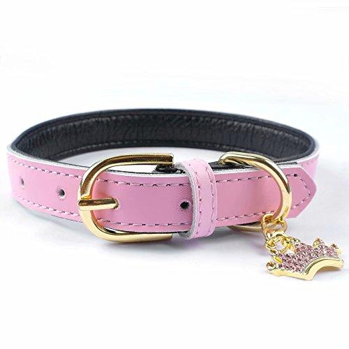 PET ARTIST Collares de piel suave y acolchados, para mascotas, gatos, cachorros, chihuahua, color rosa, con encanto de corona extra M
