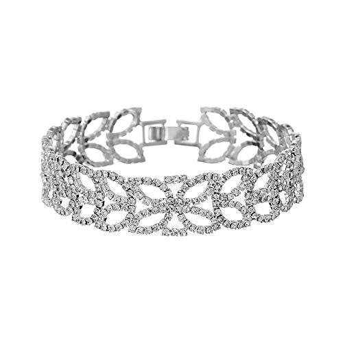 KKVK Damen Armband, Pop Open Leaf Ornament, Legierung besetzt Strass, für die meisten Mädchen Silber weiß Einheitsgröße