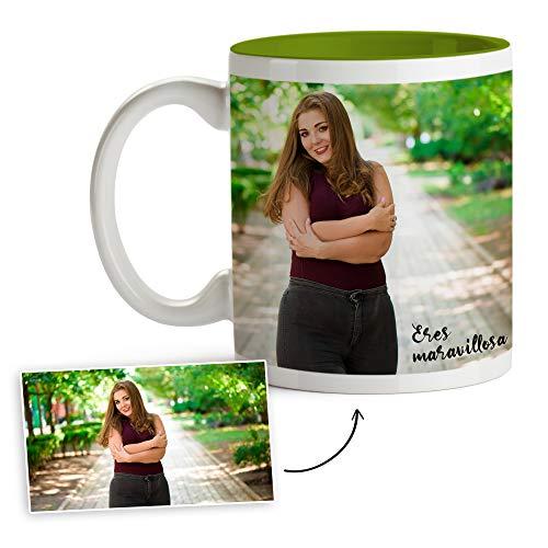 Fotoprix Tazas Personalizadas con Foto y Texto | Regalos Personalizados con Foto para Amigas | Taza Personalizada con Nombre | Taza de Color Verde Claro