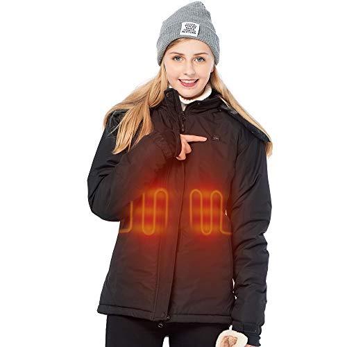 DEWBU Damen Beheizte Jacke mit 7.4v Akku Baumwollkleidung Beheizte Jacke Wasserdicht Outdoor-Aktivitäten Jacke