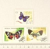 【スクラップ ネイルシール】世界切手《蝶・バタフライ》(7)3枚組