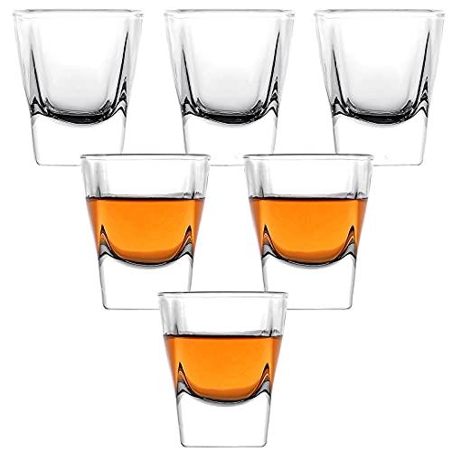 Juego de vasos de chupito, 1.7 onzas, juego de vasos de chupito transparentes, juego de 6 vasos de chupito frío/vaso de whisky y tequila