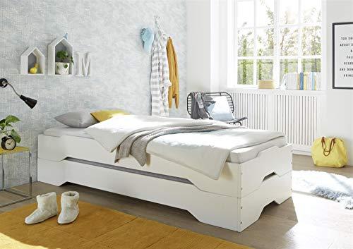 möbelando Kinderbett Jugendbett Bett Kinder Bett Doppel I Weiß